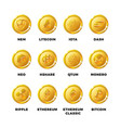 cryptocurrency gold coins with bitcoin litecoin vector image vector image