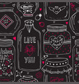 cute jars of love pattern valentines seamless vector image vector image