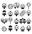 Cute Kawaii food characters - cupcake ice-cream vector image vector image