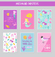 cute mermaids cards set with underwater creatures vector image