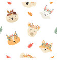 cute seamless pattern with autumn animals in crown vector image vector image