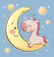 cute unicorn is sitting on the moon vector image