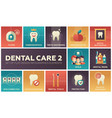 dental care - set of flat design infographics vector image vector image