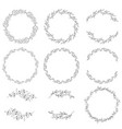 doodle spring wreath collection eps10 vector image vector image