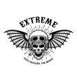 extreme skull in motorcycle helmet with bat wings vector image vector image