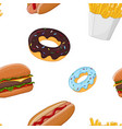 fast food seamless pattern colored vector image vector image
