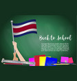 flag of costa rica on black chalkboard background vector image vector image