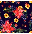 Floral seamless pattern Dark background texture vector image vector image