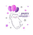 greeting card with white cat with glittering purp vector image vector image