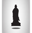 Guanyin Statue Silhouettes on the white background vector image