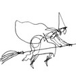 halloween witch with big nose flies on broomstick vector image vector image