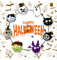 happy halloween background with spiderweb and text vector image