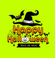 happy halloween colorful design on lemon green vector image vector image
