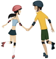 Happy roller-skating couple vector image