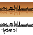 Hyderabad skyline in orange vector image vector image