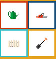 icon flat dacha set of watering can saw shovel vector image vector image