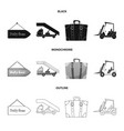 isolated object of airport and airplane icon vector image vector image