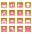 kindergarten icons set pink square vector image