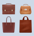 leather bags vintage business briefcase handing vector image vector image