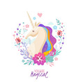 magical poster with unicorn portrait vector image vector image