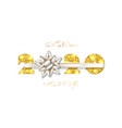 merry christmas card 3d gift bow ribbon gold vector image vector image