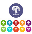mushroom icons set color vector image vector image
