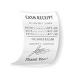 paper cash receipt with fully written out real vector image