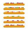 pizza side view set colorful image vector image vector image