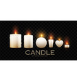 realistic 3d burining wax paraffin candles vector image vector image