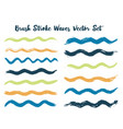 retro brush stroke waves set vector image