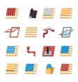 Roof Construction Elements Flat Icons Set vector image vector image