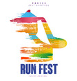 run fest poster template for sport event marathon vector image