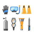scuba diving gear flat icon set gloves mask vector image vector image
