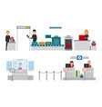 security and passport control vector image vector image