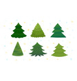 set of bright green christmas trees vector image vector image