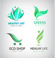 set of eco organic food healthy lifestyle vector image vector image