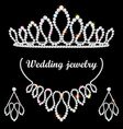 set of wedding diadem necklace and earrings with vector image vector image