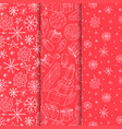 set seamless xmas patterns - hand drawn vector image vector image