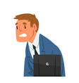 stressed businessman sitting in front computer vector image