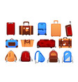 suitcases cartoon travel airport luggage for vector image