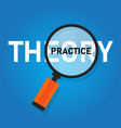 theory practice concept word zoomed with vector image