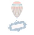 vintage balloon with tag frame vector image vector image