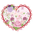 vintage roses ornament and heart vector image vector image