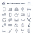 wireless devices flat line icons wifi internet vector image vector image