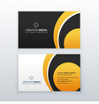 yellow and black professional business card vector image vector image