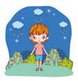 young girl outdoors cartoon vector image vector image