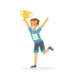 young happy athletes boy running with winner cup vector image vector image