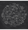 Hand drawn food ring label sketch chalk board vector image