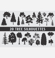 20 trees silhouettes various design set vector image vector image