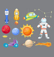 astronomy space rocket cartoon set vector image